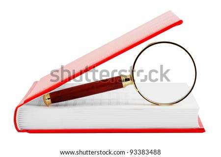 Searching. Magnifier with the book on the white background - stock photo