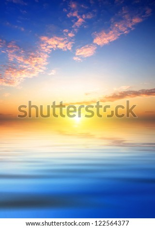 Seascape. Abstract sky and water - stock photo