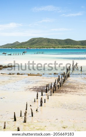 Seascape at small fisherman village in sunshine day - stock photo