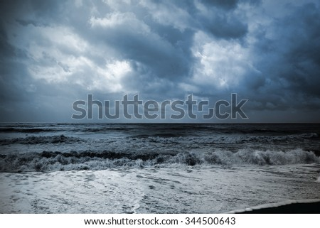 Seascape during an approaching storm - stock photo