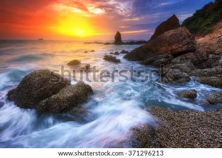 Seascape during sundown. Beautiful natural summer seascape - stock photo