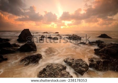 Seascape during sunrise. Beautiful natural seascape - stock photo