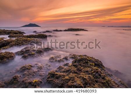 Seascape during sunset. Beautiful natural seascape - stock photo