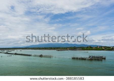Seascape Fish Farm in Thailand - stock photo