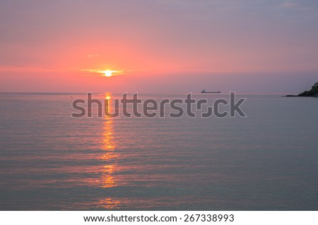 Seascape in sunset time - stock photo