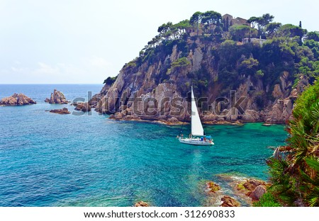 Seascape . Mediterranean coast of Spain, Costa Brava - stock photo