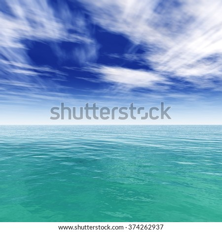 seascape, ocean and blue sky, the clouds over the sea - stock photo