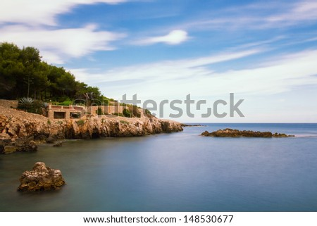 Seascape of Cap d'Antibes, Provence, France - stock photo