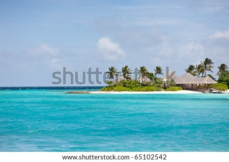 seascape of maldives island resort - stock photo