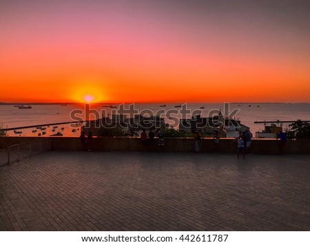 Seascape of sunset from Salvador, Pelourinho, Brazil  - stock photo
