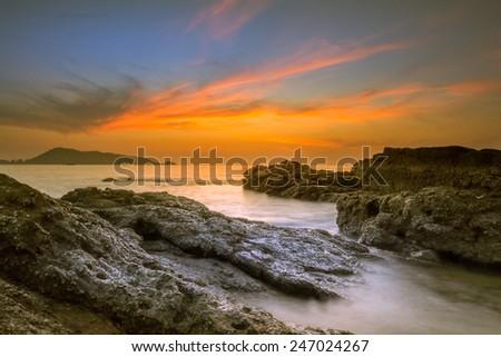 Seascape of sunset on Andaman sea - stock photo
