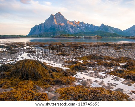 Seascape of the coast with mountains in Norway Lofoten - stock photo