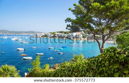 Seascape of the with yachts island of Majorca - stock photo