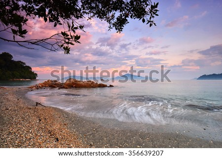 Seascape sunrise at the beach with amazing colors. Nature composition. - stock photo