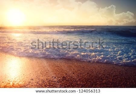 Seascape. sunset - stock photo
