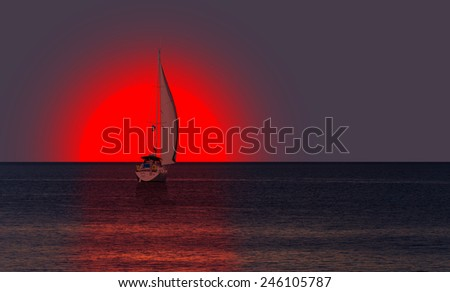seascape sunset and boat - stock photo