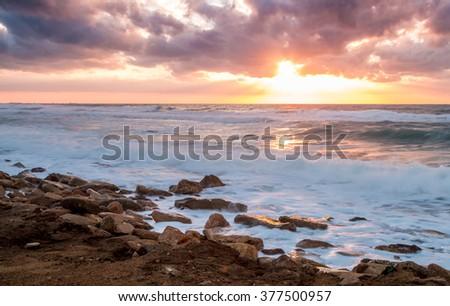 Seascape, sunset over the Mediterranean Sea, Israel - stock photo