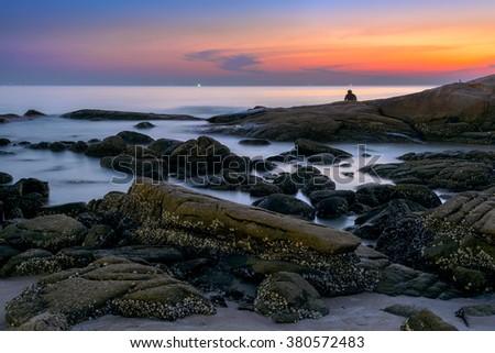 seascape, The beach at dusk in Thailand. - stock photo