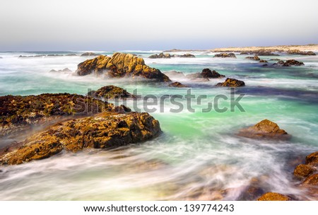 Seascape View of the Pacific Ocean from 17 Mile Drive - stock photo