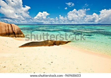 Seascape view with a big stones, Seychelles, La Digue island - stock photo