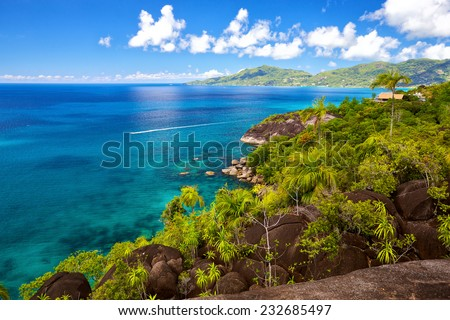 Seascape view with turquoise water, Mahe island, Seychelles - stock photo
