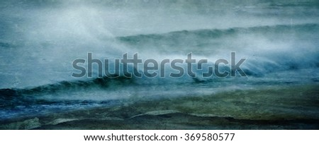 Seascape with Atlantic Ocean on a stormy morning - stock photo