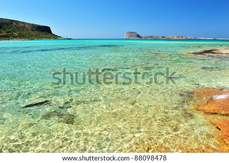 Seascape with pink sandstones in Elafonisi, Crete, Greece - stock photo