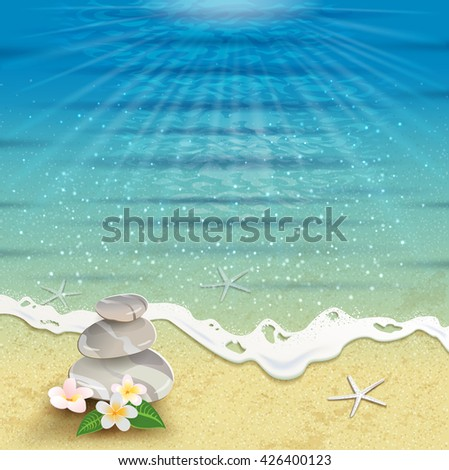 Seascape with tropical flowers and stones - stock photo