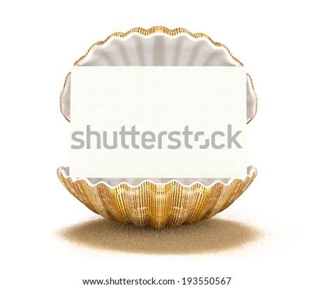 seashell-card - stock photo