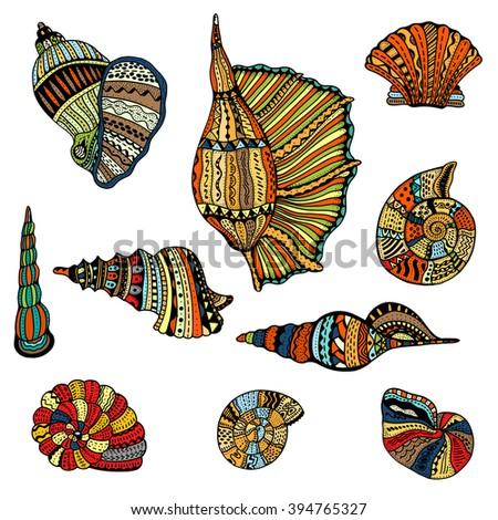 Seashell set collection. Art illustration. Zentangle. Hand drawn artwork. Beach concept for restaurant menu card, ticket, branding, logo label. - stock photo