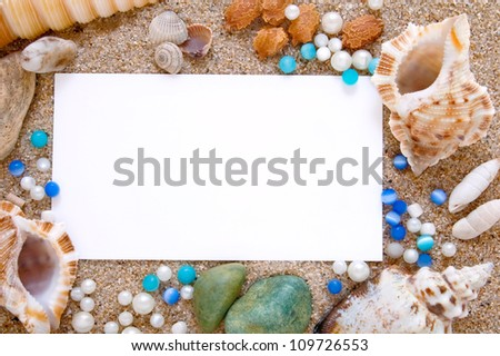 Seashells with sand as background - stock photo
