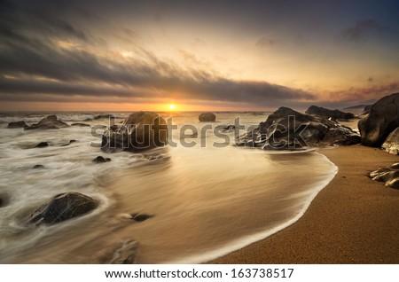 Seashore, beach with stunning light - stock photo