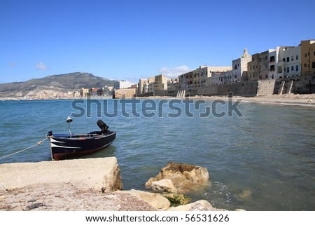 Seashore in Trapani - city in western Sicily. Rainy cloudy weather - stock photo