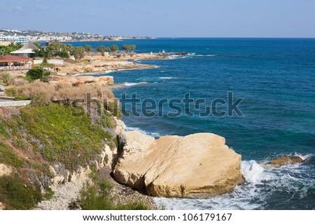 Seashore of Hersonissos, touristic place in Crete, Greece - stock photo