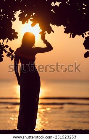 seashore silhouette image of beautiful lady at the seashore and tree silhouette - stock photo