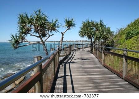 Seaside boardwalk at Caloundra, Sunshine Coast, Australia - stock photo