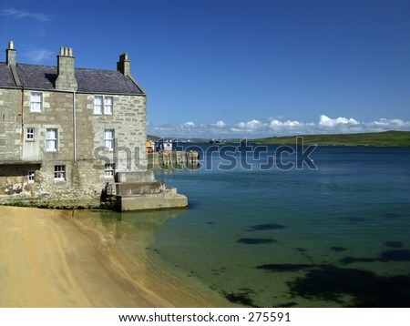 Seaside Buildings, Lerwick, Shetland, Scotland - stock photo