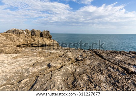 Seaside cliffs close to the Portuguese city of Cascais, in the District of Lisbon - stock photo