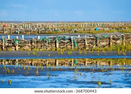 Seaside on Mando island flooded with sea water - stock photo