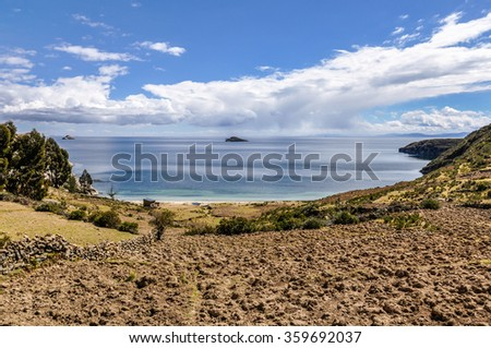 Seaside on the Isla del Sol on the Lake Titicaca in Bolivia - stock photo
