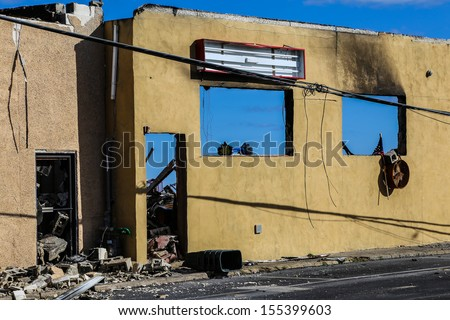 SEASIDE PARK, NEW JERSEY - SEPTEMBER 22 2013: Aftermath of a fire on Jersey Shore boardwalk town of Seaside Park, barely recovered from Hurricane Sandy September 22 2013 in Seaside Park, New Jersey - stock photo