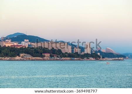Seaside pier of the city of Sochi - stock photo