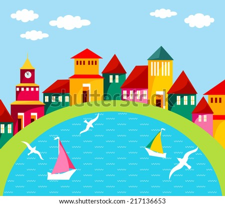 Seaside port town. Raster cartoon illustration of small cosy port town. Abstract street with homes and water scene. Colorful houses on the waterfront. Harbour with yachts and seagulls. - stock photo
