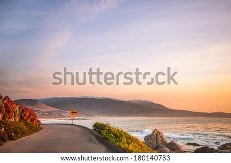 Seaside road in Carmel - stock photo