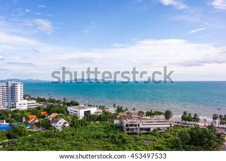 Seaside town of Pattaya in Thailand Good weather blue sky Bird's eye view - stock photo