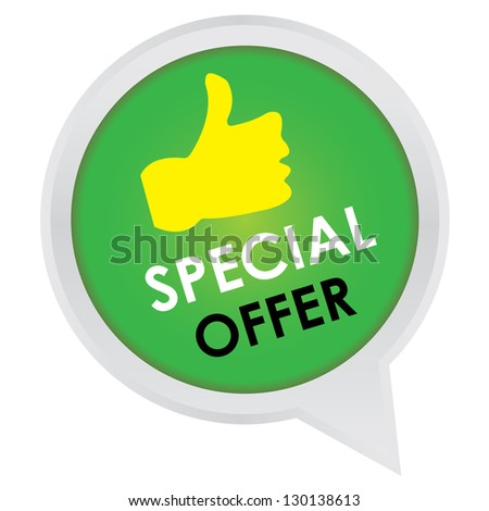 Season Sale Sticker or Label Present By Special Offer on Green Icon Isolated on White Background - stock photo