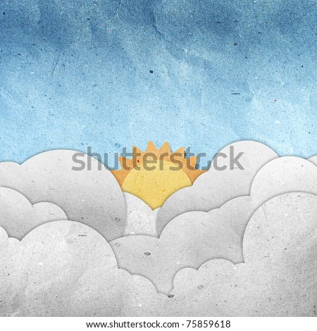 season view recycled paper craft  stick on white background - stock photo