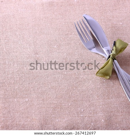 seasonal table with cutlery - stock photo