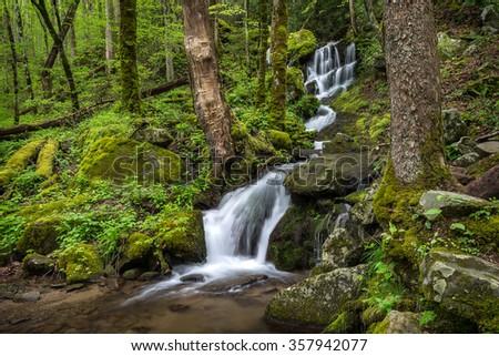 Seasonal waterfall, Great Smoky Mountains National Park - stock photo