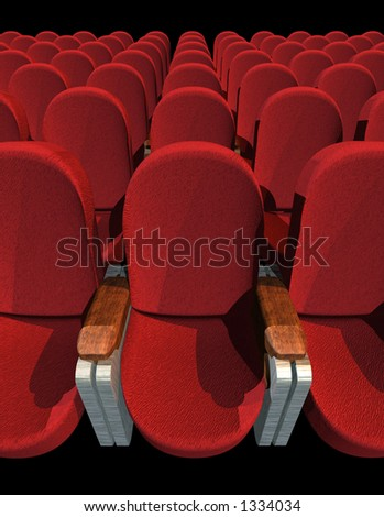 Seat at Movie Show (3D image) no shadow - stock photo